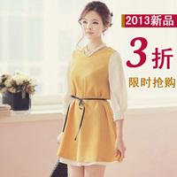 2013 summer women one-piece dress autumn fake second pieces chiffon one-piece dress