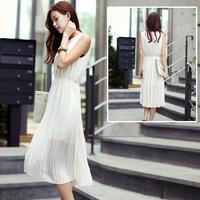 2013 slim sleeveless tank dress gentlewomen pleated medium-long chiffon one-piece dress