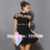 Women Summer european casual dress 2014 fashion girl black short Sleeve Mesh Peak Collar Club Party dress