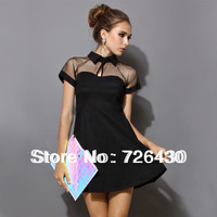 Women Summer european casual dress 2014 fashion girl black short Sleeve Mesh Peak Collar Club Party dress