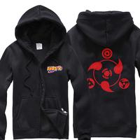 Naruto hoodie Write round eyes fleece thickening of the logo zipper-up sweatshirt outerwear
