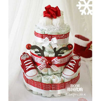 Christmas gift box 100% cotton baby supplies baby newborn gift baby gym shoes diapers cake