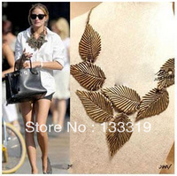 European and American fashion retro temperament exaggerated leaf pattern leaf necklace short paragraph false collar