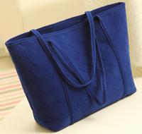 Womens Plaid Embroidery medium Bags U.S. and London fashion handbag nubuck leather shoulder bag blue tide