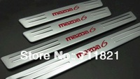 Chrome Matte Door Sill Scuff Plates With Red LED Light For Mazda 6