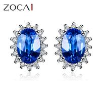 ZOCAI brand passion Genuine 18K white gold 1.0 ct top Sri Lanka sapphire with 0.10 ct diamond engagement stud earrings E00385