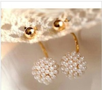 Free shipping (MIX order $10)  accessories round ball pearl earrings long stud earring female