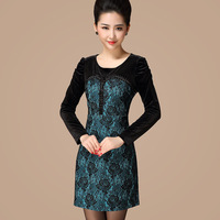 Free shipping Fashion 2013 toutle beads patchwork design slim long one-piece dress