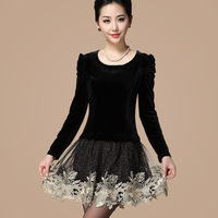 Free shipping Autumn new arrival 2013 o-neck velvet long-sleeve embroidered elegant laciness one-piece dress