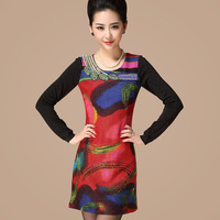 Free shipping 2013 multi-colored color block decoration beautiful beading slim wool knitted long-sleeve dress