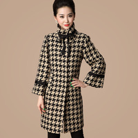 Free shipping 2013 mother clothing winter outerwear simple elegant turtleneck long-sleeve houndstooth woolen trench overcoat