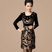 Free shipping 2013 autumn ink print high quality goldenbarr fresh one-piece dress