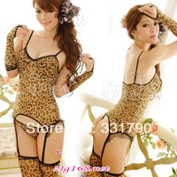 Free Shipping  016336  Women's Sexy Leopard Teddy Lingerie With Stockings and Gloves For Sale