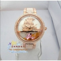 Davena watch rhinestone steel sheet crystal fish ladies watch rose gold 60138