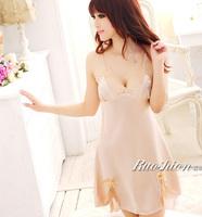 Summer faux silk spaghetti strap nightgown sexy sleepwear female temptation lace skirt silk sleepwear female deep V-neck