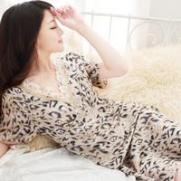Summer sexy leopard print faux silk nightgown temptation V-neck silk sleepwear female sleepwear lounge female