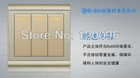 Wholesale 10pcs/lot  220V 10A EU standard gold 86 type hotel wall switch/ light switch 3 gang Single control wall scoket