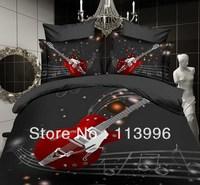 Hot! Reactive printed 3d bed linen bedding set cotton queen size/bedclothes/duvet cover guitar music  artistic coverlet 3d
