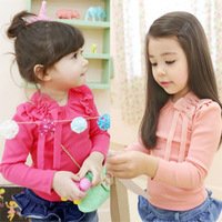 2014 Spring Chiffon flower butterfly knot decorative pure colour girls clothing baby child long-sleeve T-shirt