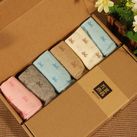 Socks sock slippers summer 100% bow cotton candy color socks gift box socks