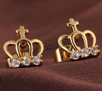 Free shipping!!!Brass Stud Earring,chinese style, Crown, 18K gold plated, with cubic zirconia, nickel, lead & cadmium free