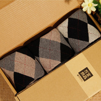 Male socks thickening towel high knee-high socks gift box socks dimond plaid