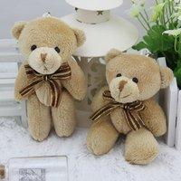 free shipping 12pcs/lot 12CM brown mini joint  teddy bear,brown bear toy bouquet material/wedding gift,kawaii small bear