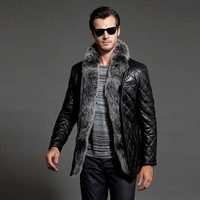 2014 Winter New Arrival Men's Detachable Real Sliver Fox Fur Genuine Goatskin Leather Down Jackets Hot Sale Outwear Coats