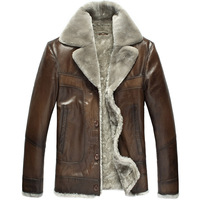 THOOO Sheepskin fur one piece men's clothing design leather short coat male genuine leather clothing 2478