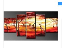 hand-painted artwork The African grassland deer High Q. Wall Decor Landscape Oil Painting on canvas 5pcs
