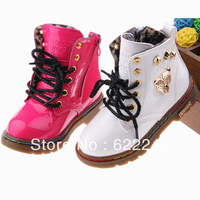 FREE SHIPPING 2013 winter boots kids bright japanned leather child martin boots boys girls leather thermal snow boots  27-  -31