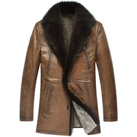 THOOO Royal needle fur collar medium-long fur one piece male genuine leather clothing 2505