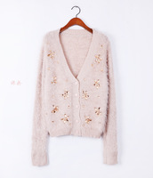 HOTWinter&Autumn Korean style diamond comfortable soft pure color mohair V-neck long-sleeve knitted cardigan sweater women coat