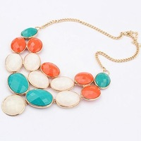 Wholesale Bohemian colored gemstone pendant necklaces