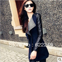 free shipping 2013 autumn patchwork woolen outerwear  slim medium-long wool coat for women