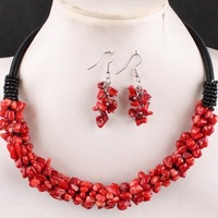 6X4MM Red Coral Chip Beads Rope Charm Necklace & Earring 1 SET MY1164