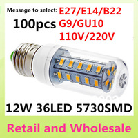 E27-5730SMD-36LED+Free Shipping+LED Corn Light Bulbs Lamps E27 B22 G9 GU10 12W Warm/Cool White Home Lighting 100pcs/LOT