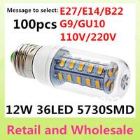 E27-5730SMD-36LED+Free Shipping+LED Corn Light Bulbs Lamps E27 B22 G9 GU10 12W Warm White/White Home Lighting 100pcs/LOT