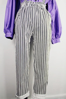 New arrival! 2013 black-and-white plaid stripe elastic bib pants  free shipping