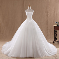 Luxury big 2013 princess tube top bandage wedding dress white train wedding dress lace