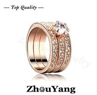 Crystal 3 Round 18K Rose Gold Plated Ring Genuine SWA ELEMENTS Crystals From Austria 4 Multi Sizes Wholesale B15
