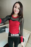 2013 New Women Sexy mesh stitching Slim round neck long-sleeved shirt B204