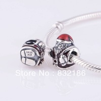 New Arrival Red Christmas Santa Claus 925 Sterling Silver Dangle Charm Bead Gift, Fits for Pandora Bracelet Jewelry DIY LW318