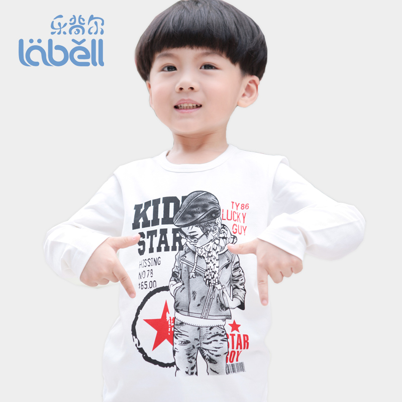 Autumn 2013 autumn male child small children's clothing long-sleeve T-shirt child 100% cotton white t shirt basic shirt(China (Mainland))