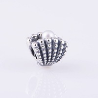 New Shell with White Pearl Gift, 925 Sterling Silver Screw Charm Bead, Suitable for Pandora Bracelet Jewelry DIY Making LW322