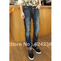 Male jeans single breasted decoration button front fly fashion pants zk32 p105