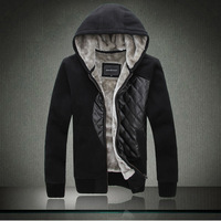 2013 men's clothing personality slim male casual outerwear with a hood thermal plus velvet sweatshirt