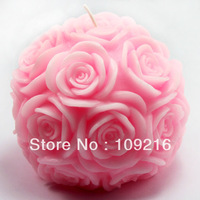 Free shipping!!! New Style 3D 9.6*8.6cm Rose Ball (LZ0091)  Silicone Handmade Candle/Soap Mold Crafts DIY Mold