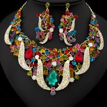 Fashion Multi  Alloy Rhinestone Necklace Earring Set,Rhinestone Party and Wedding Jewelry Set Free Shipping#7220(China (Mainland))