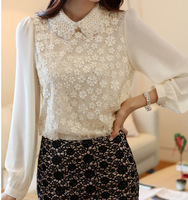 Autumn doll chiffon lace collar fashion casual long-sleeved shirt bottoming shirt big yards